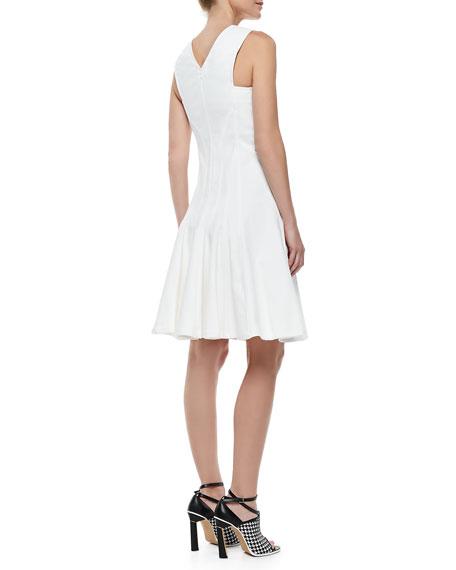 Stretch Cotton Peplum A-Line Dress, White