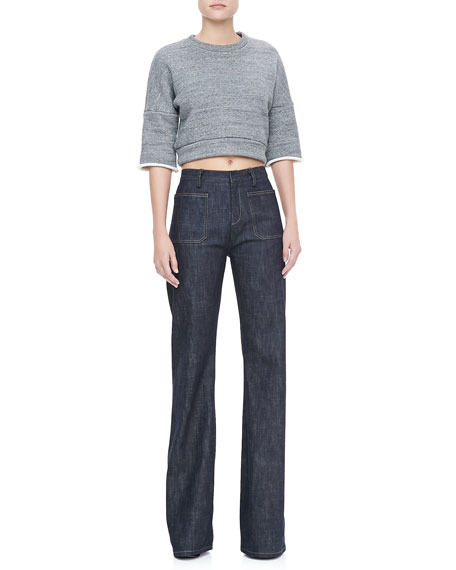 High-Waist Wide-Leg Jeans, Indigo