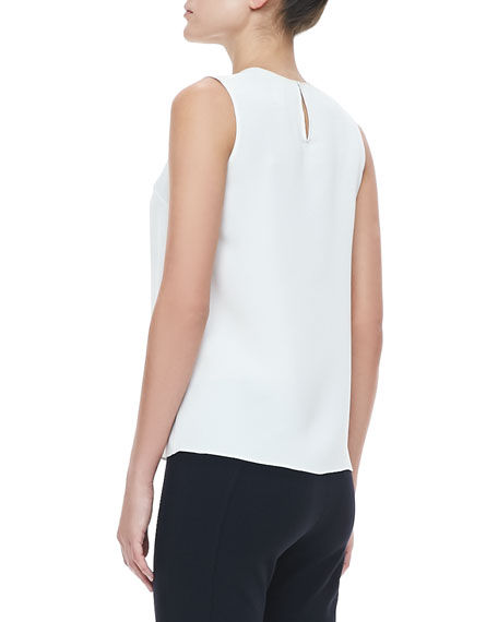 Sleeveless Embroidered Blouse, Ivory