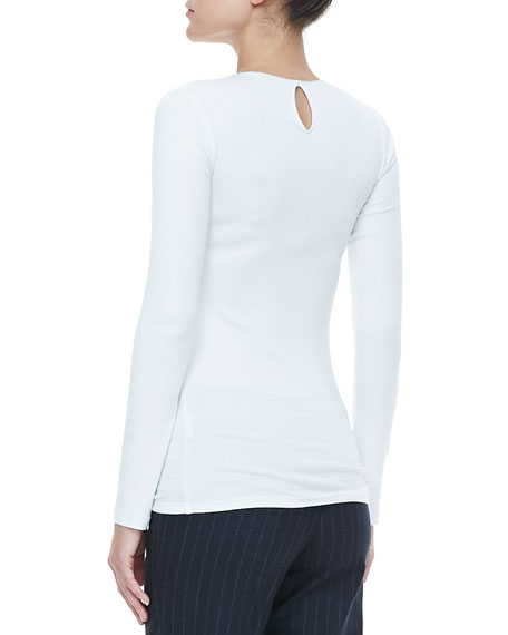 Cotton-Blend Crewneck Sweater, White