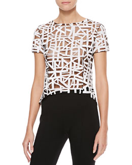 Oscar de la Renta Sheer Lattice-Sequined Blouse, Black