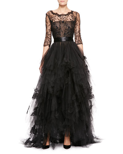 Oscar de la Renta 3/4-Sleeve Lace & Tiered Tulle Gown, Black