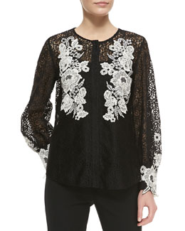 Oscar de la Renta Long-Sleeve Floral Embroidered Blouse