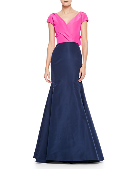 Puff-Sleeve Surplice Trumpet Gown, Pink/Navy