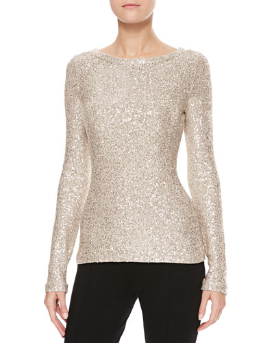 Oscar de la Renta Long-Sleeve Sequin Sweater, Gold