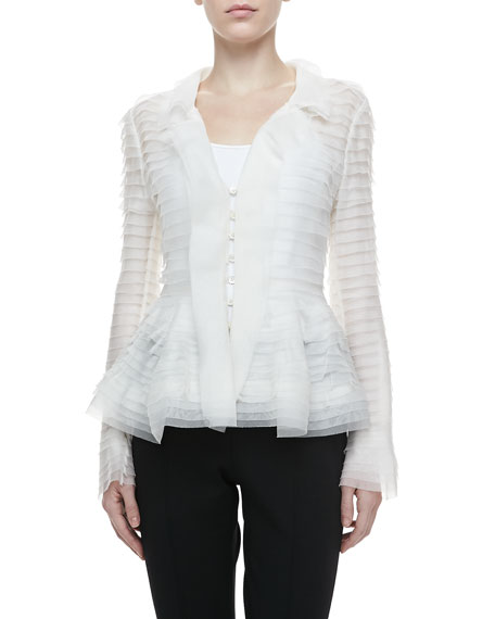 Long-Sleeve Tiered Peplum Blouse, Ivory