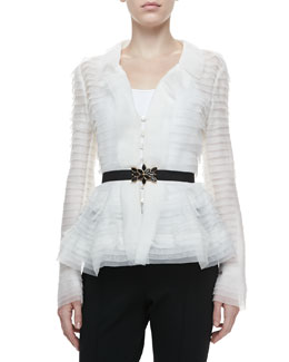 Oscar de la Renta Long-Sleeve Tiered Peplum Blouse, Ivory