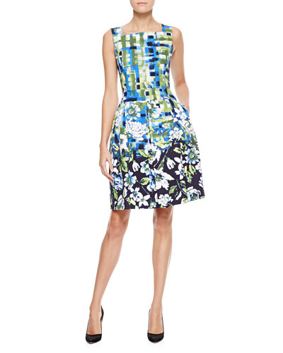 Oscar de la Renta Plaid & Floral Dress, Indigo/Green