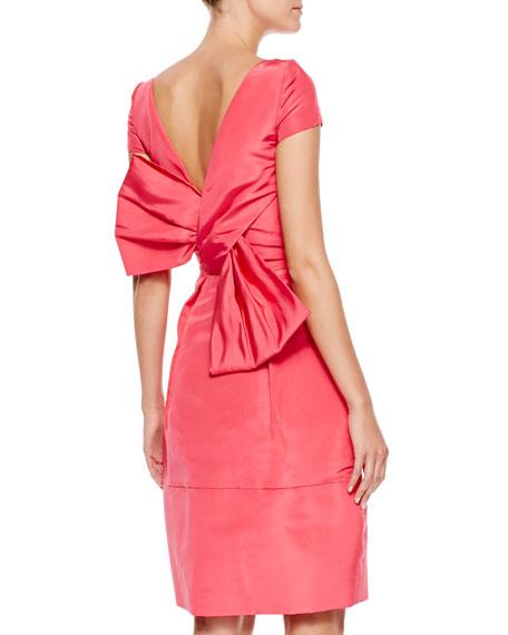 Bow-Back Short-Sleeve Cocktail Dress, Amaranth