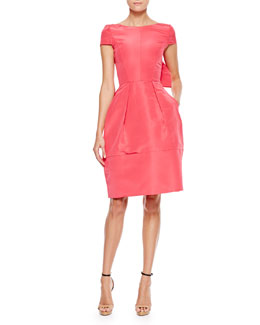 Oscar de la Renta Bow-Back Short-Sleeve Cocktail Dress, Amaranth