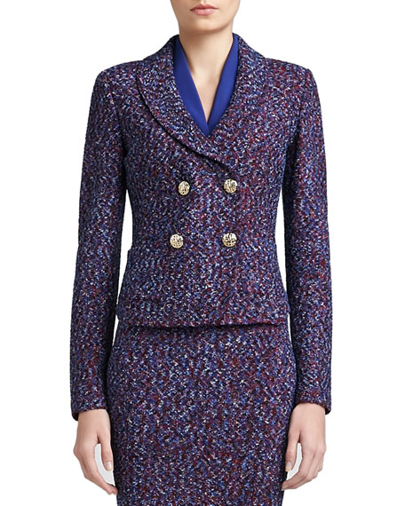 Looped Lash Tweed Knit Double Breasted Dip Front Jacket with Shawl Collar & Pockets