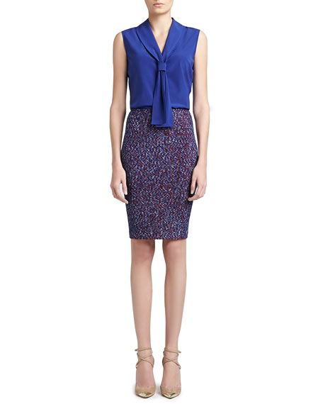 Looped Lash Tweed Knit Pencil Skirt