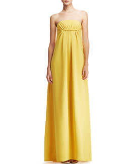Derek Lam Strapless Silk Gown, Yellow