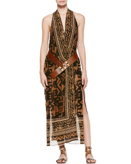 Donna Karan Single Grommet Belted Printed Wrap Dress