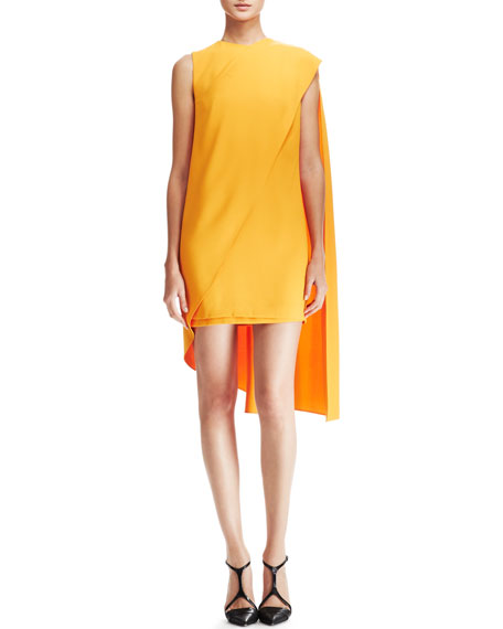 Sleeveless Cape Dress, Orange