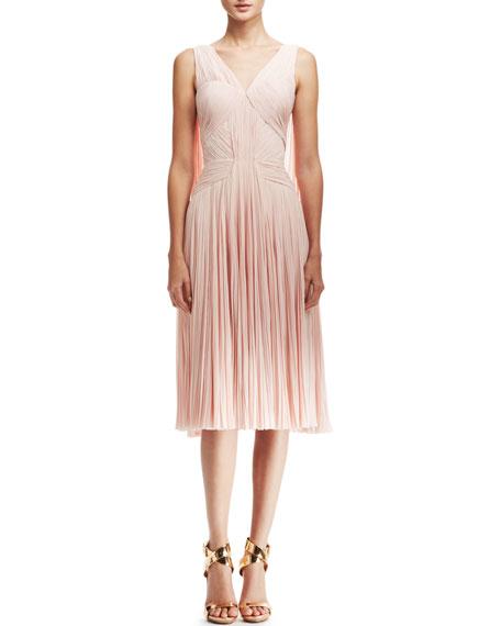 Plisse Chiffon Mid-Length Dress