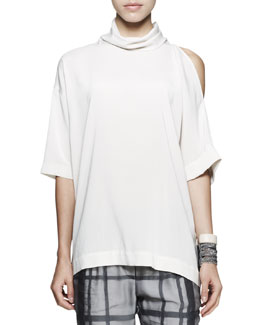 Brunello Cucinelli Cutout-Shoulder Silk Top