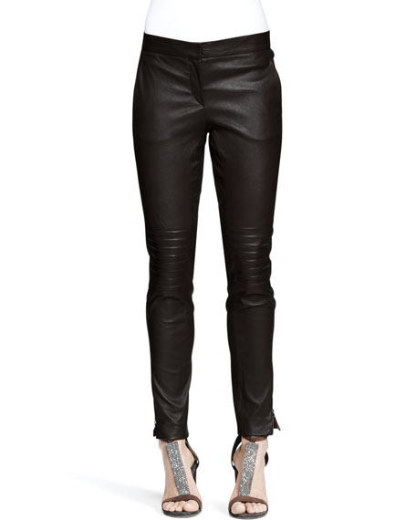 Leather Knee-Patch Skinny Pants