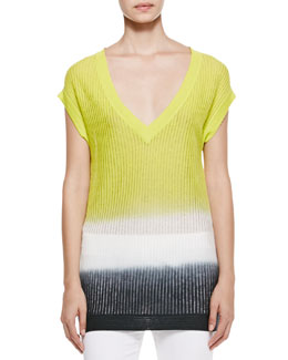 Piazza Sempione Degrade Knit Blouse, Taupe