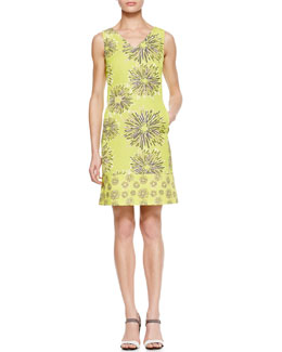 Piazza Sempione Printed V-Neck Sheath Dress, Chartreuse