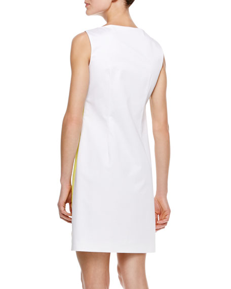 Colorblock Sheath Dress, Chartreuse/White