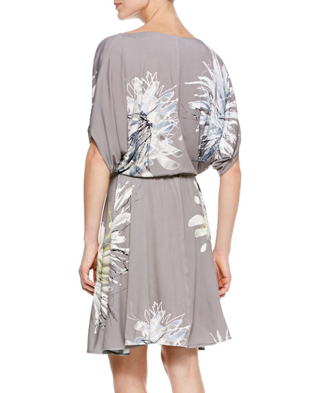 Gathered-Waist Printed Jersey Dress, Taupe/Multi