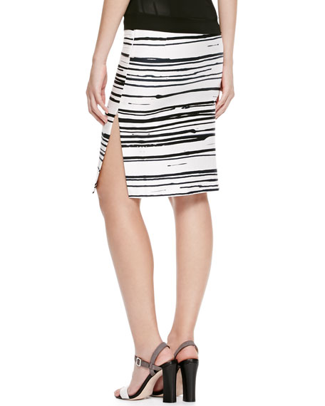 Striped Side-Zip Pencil Skirt, White/Black