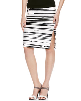 Piazza Sempione Striped Side-Zip Pencil Skirt, White/Black