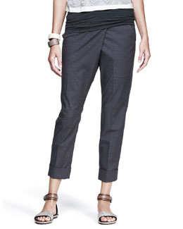 Brunello Cucinelli Cropped Asymmetric-Wrap Pants