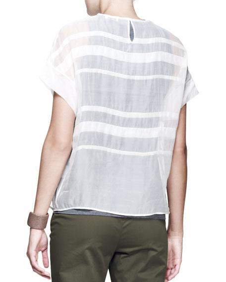 Sheer Folded-Tartan Top