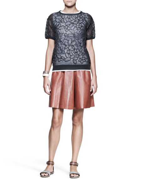 Shiny Leather Swing Skirt