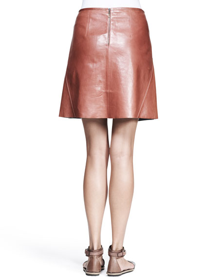 Shiny Leather Swing Skirt
