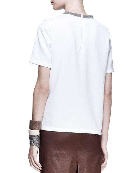 Short-Sleeve Monili-Neck Top