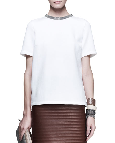 Short-Sleeve Monili-Neck Top