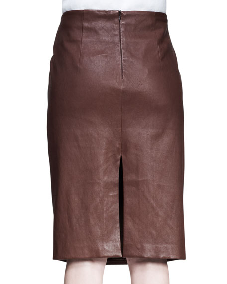 LEATHER SKIRT WITH HORIZONTA