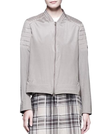 Quilted-Shoulder Zip Jacket