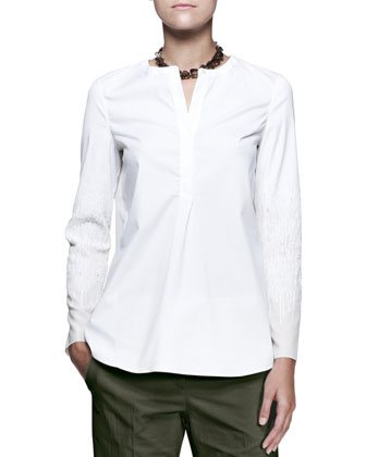 Textured-Sleeve Popover Shirt
