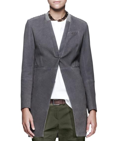 Monili-Collar Suede Jacket