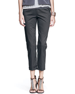 Brunello Cucinelli Cotton Flat Front Wide Leg Pant, Oak