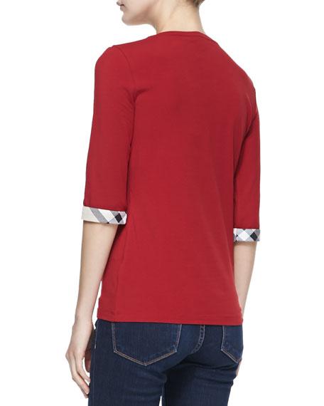 3/4-Sleeve Check-Cuff Jersey Tee