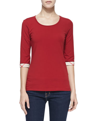 Burberry Brit 3/4-Sleeve Check-Cuff Jersey Tee