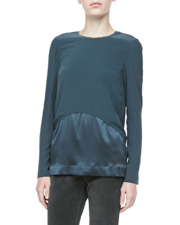 Brunello Cucinelli Matte & Satin Long-Sleeve Blouse, Forest