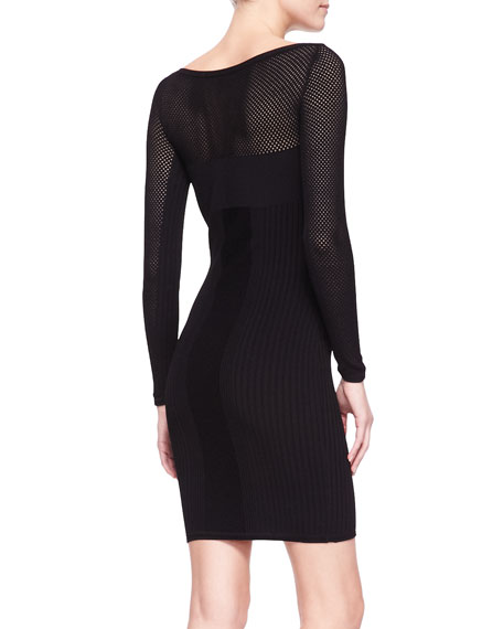 Mesh-Yoke Long-Sleeve Knit Sheath Dress, Black