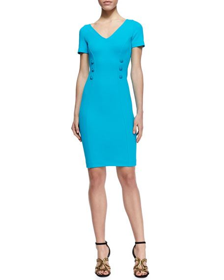 Double-Breasted Button Sheath Dress, Cerulean
