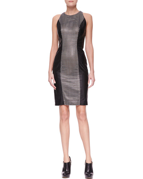 Leather Dress with Woven Center Panel