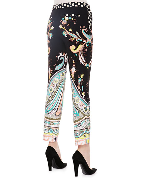 Paisley Printed Ankle Pants, Black