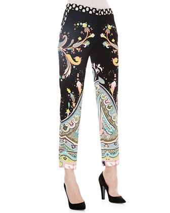 Paisley Printed Ankle Pants, Black