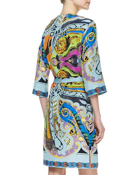 Paisley-Print Silk Dress with Asymmetric Keyhole