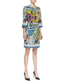 Etro Paisley-Print Silk Dress with Asymmetric Keyhole
