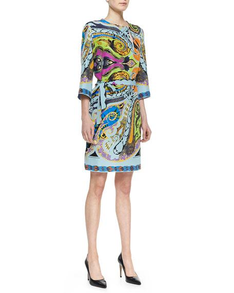 Paisley-Print Silk Dress with Asymmetric Keyhole